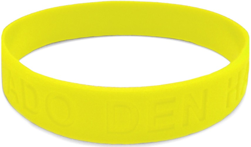 Armbandje rubber geel: glow in the dark