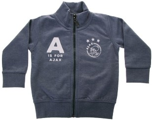 Baby sweatvest ajax blauw: A is for Ajax maat 86/92