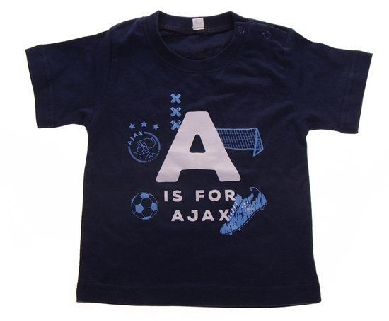 Baby t-shirt ajax blauw: A is for Ajax maat 50/56