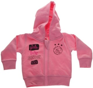 Baby sweatvest ajax roze: girls love soccer maat 62/68