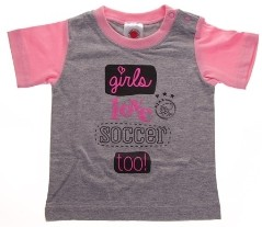 Baby t-shirt ajax roze: girls love soccer maat 74/80