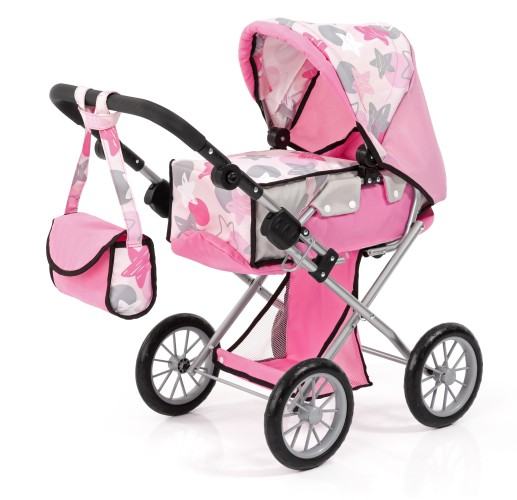 Poppenwagen Bayer City Star: grijs/roze (13672AA)