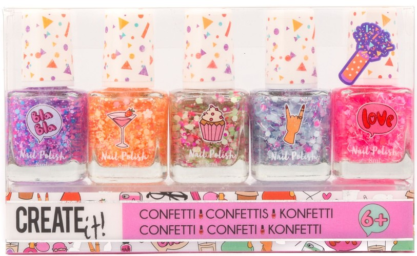 Nagellak Create It confetti: 5-delig (84147)