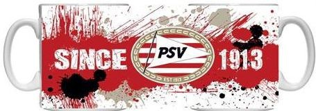 Mok psv wit/rood splash