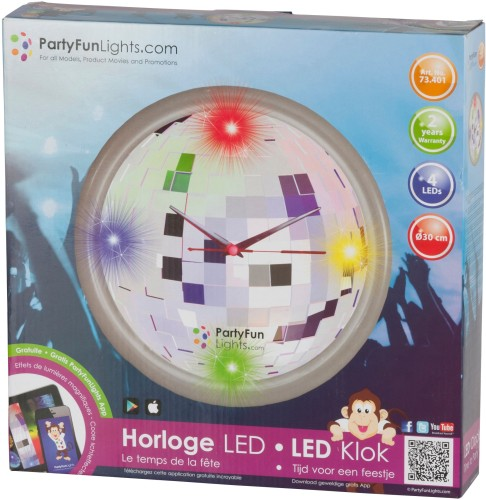 Wandklok 4 LED Party FunLights: 30 cm